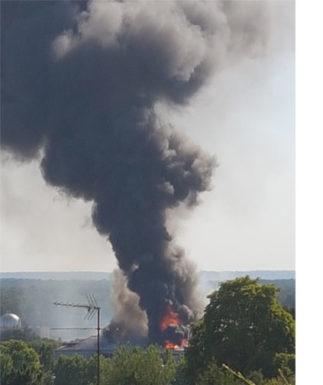 Photo de l'incendie du SIAAP en juillet 2019