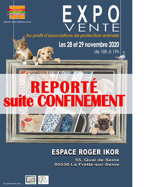 Affiche Expo/vente de tableaux au profit d'associations de protection animale